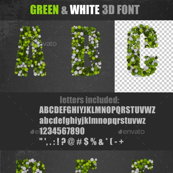 Green&White 3D Font