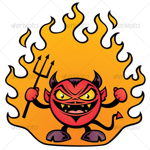 Fat Devil Cartoon - Monsters Characters