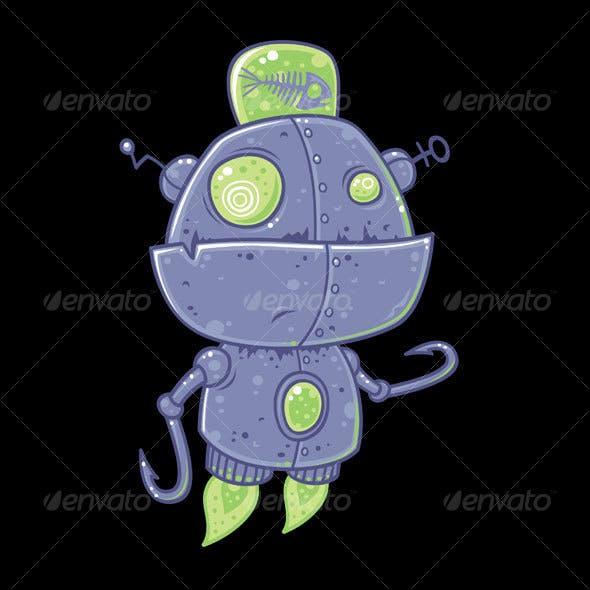 Fishing Robot Cartoon