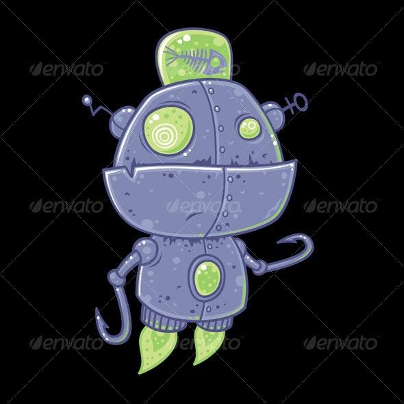 Fishing Robot Cartoon - Miscellaneous Characters