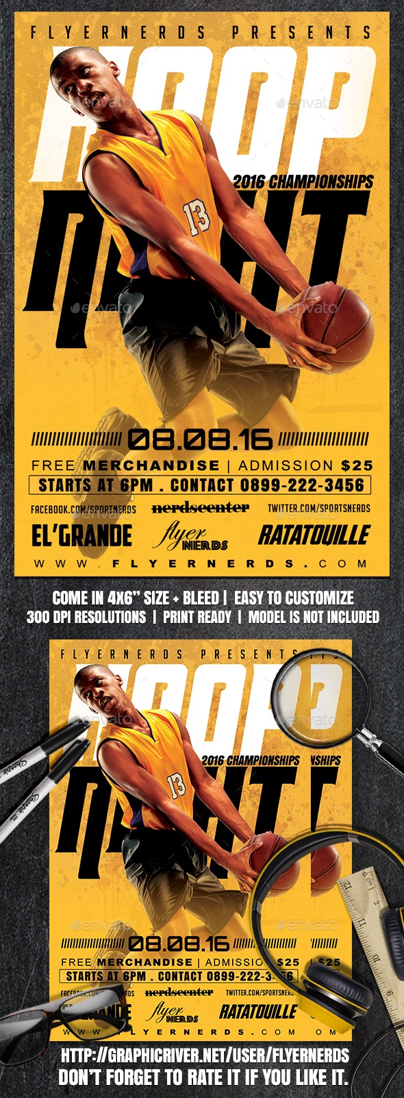 Hoop Basketball Sports Flyer - Sports Events