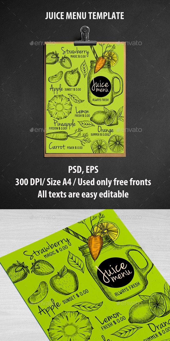 Juice Bar Menu Template - Food Menus Print Templates