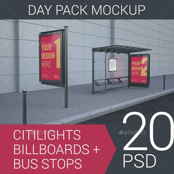 Citylights, Billboards, Bus Stops. Day Mockup.