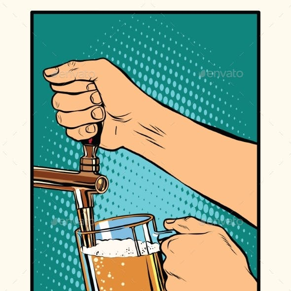 The Bartender Pours a Glass Of Beer