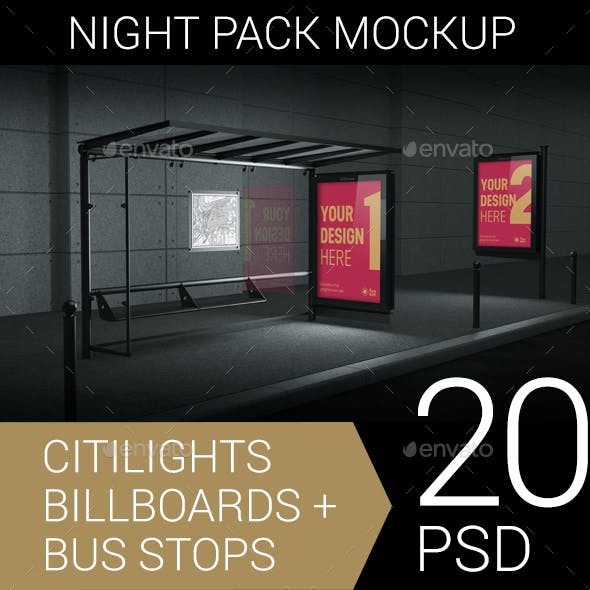 Citylights, Billboards, Bus Stops. Night Mockup.