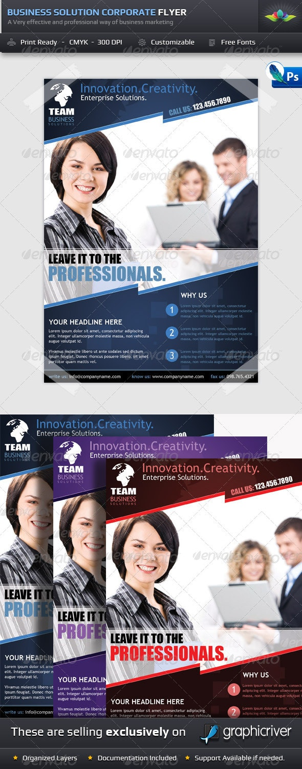 Business Solution Corporate Flyer Template  - Corporate Flyers