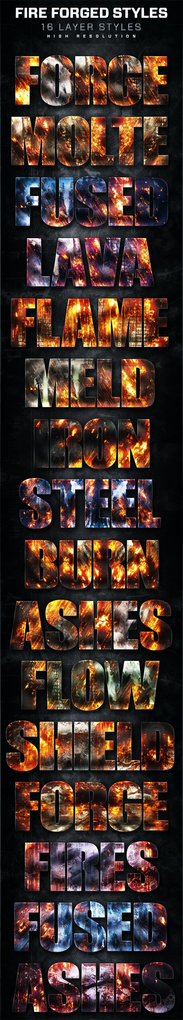 16 Fire Forged Layer Styles Volume 4 - Text Effects Styles