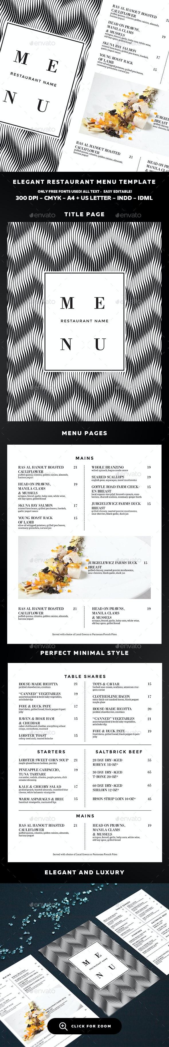 Menu Template - Food Menus Print Templates
