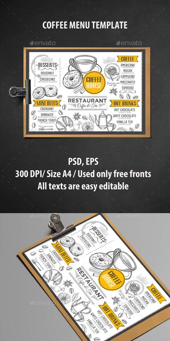 Coffee Menu Template - Food Menus Print Templates