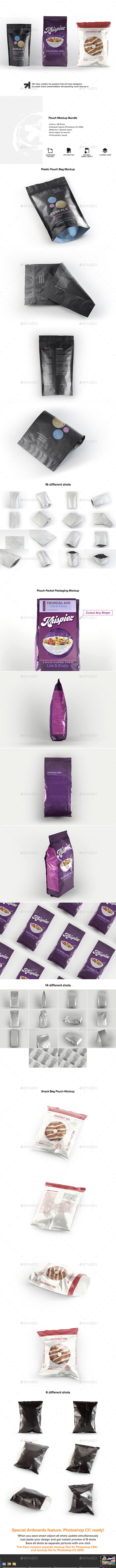 Pouch Packaging  Mockup Bundle - Food and Drink Packaging