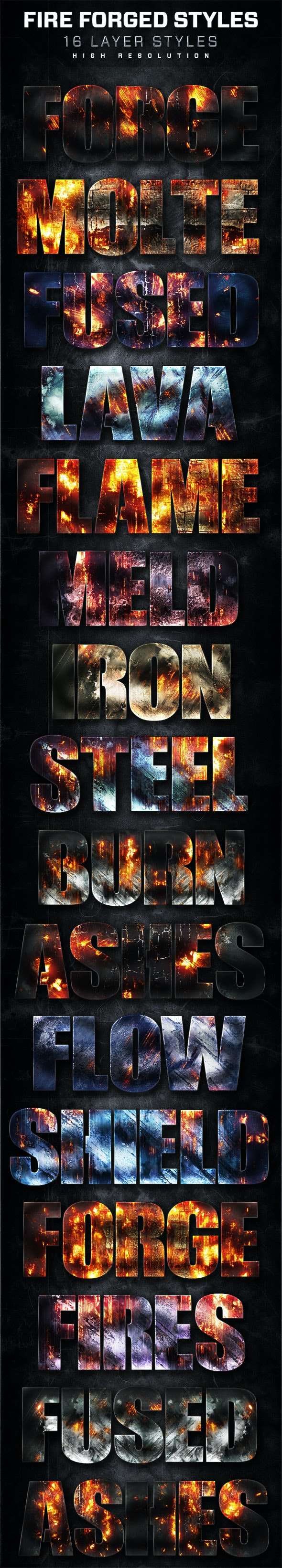 16 Fire Forged Layer Styles Volume 6 - Text Effects Styles