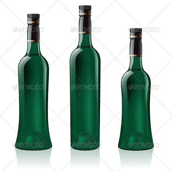 Set of Green Wine Bottles