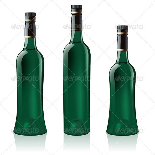Set of Green Wine Bottles - Man-made Objects Objects