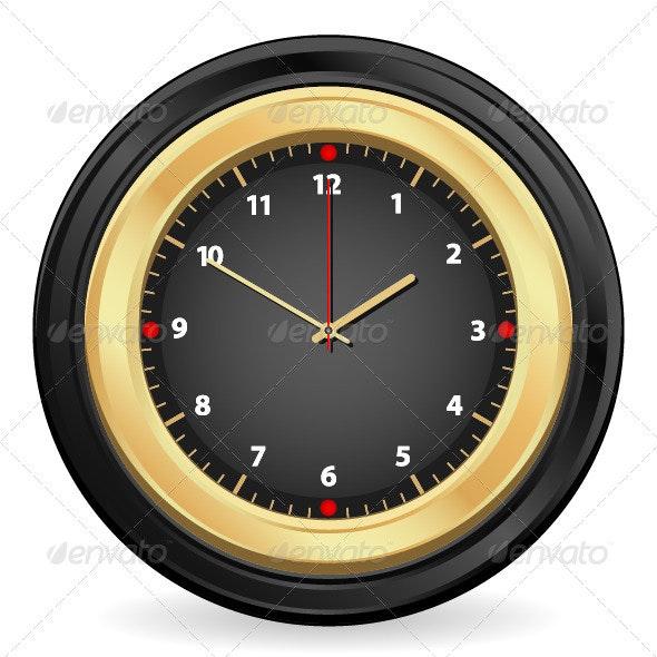 Black Gold Clock - Objects Vectors