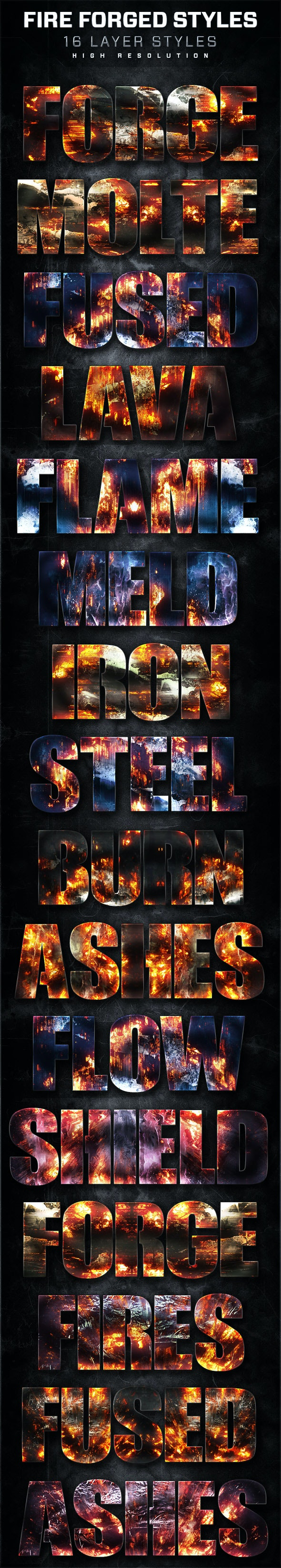 16 Fire Forged Layer Styles Volume 8 - Text Effects Styles