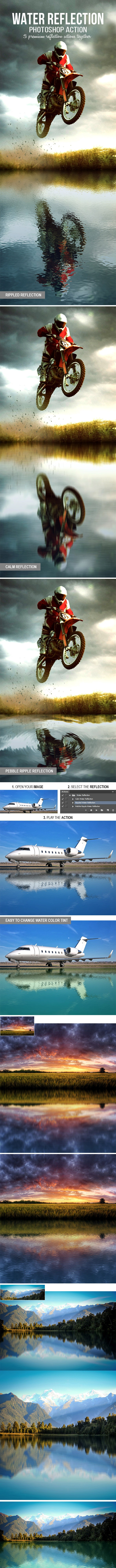 3-in-1 Water Reflection Photoshop Action - Photo Effects Actions