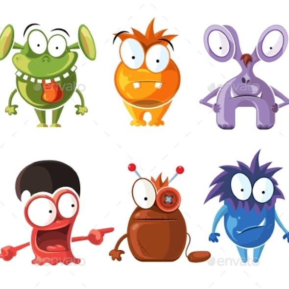 Cartoon Monster Characters Set