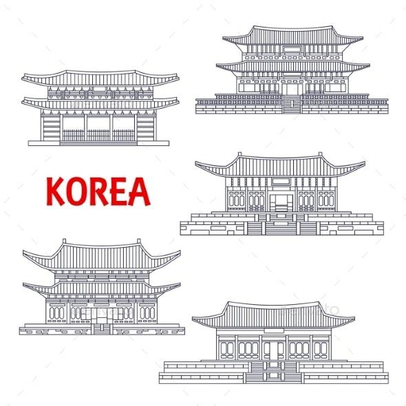 Five Grand Palaces of South Korea Thin Line Symbol - Travel Conceptual