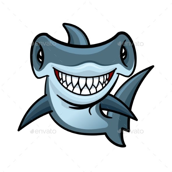Happy Cartoon Hammerhead Shark Character