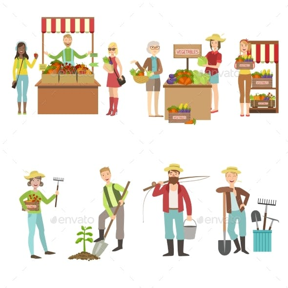 Farm Vegetables Market and People Farming Set