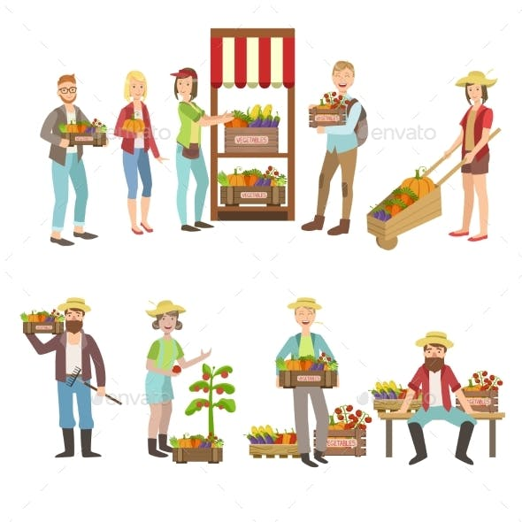 Farm Vegetables Market and People Farming