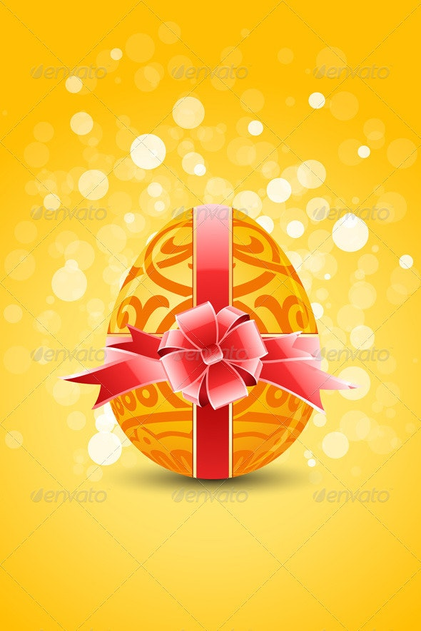 Golden Egg with Ornament Decoration - Seasons/Holidays Conceptual