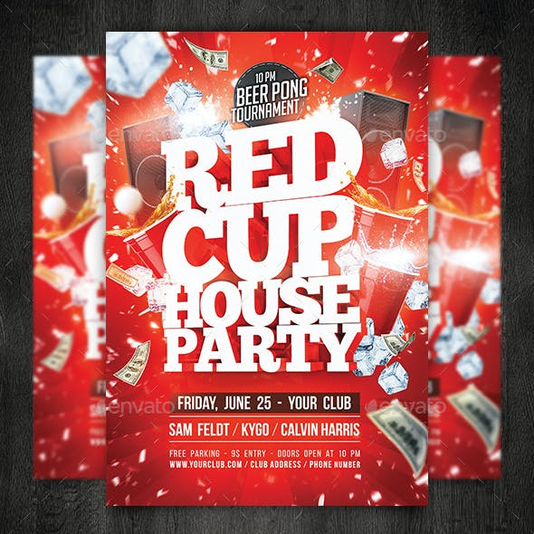 Red Cup House Party Flyer Template (+ Facebook Timeline)