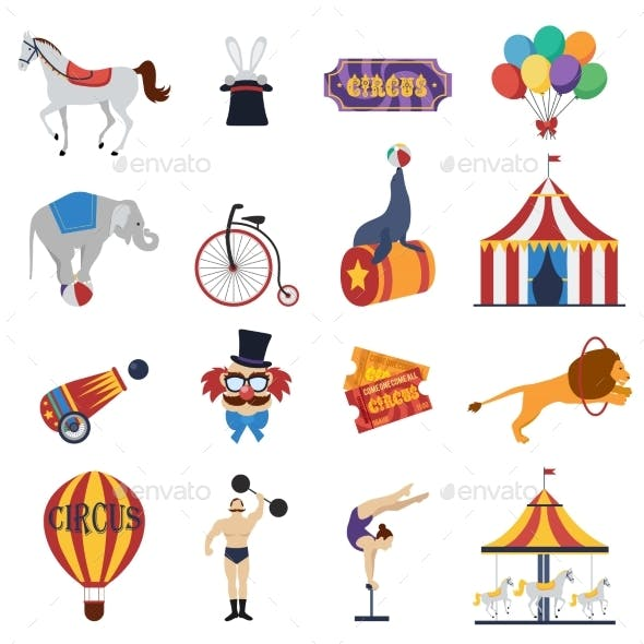 Circus Decorative Icons Set