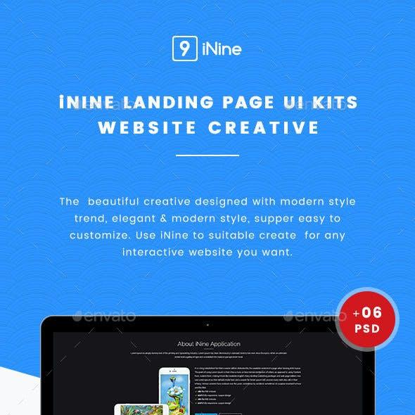 Nine UI Kits Landing Pages & Web Design Template
