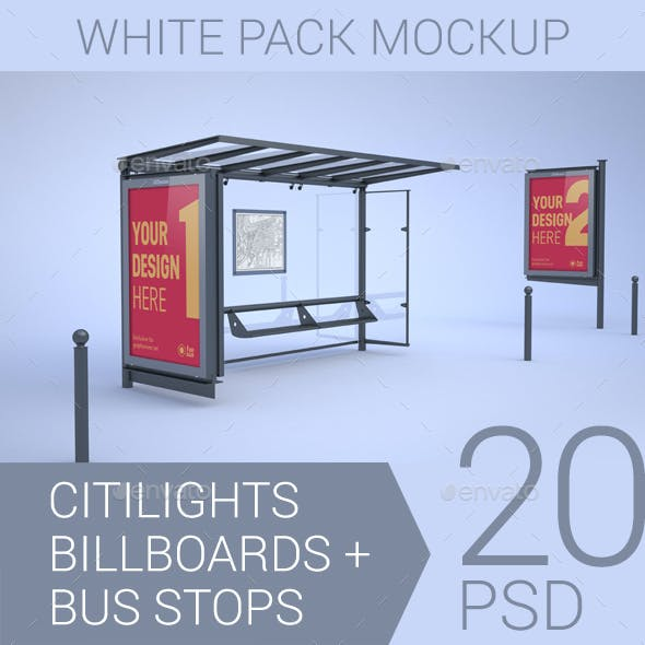 Citylights, Billboards, Bus Stops. White Mockup.