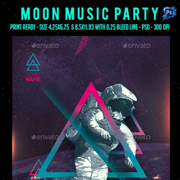 Moon Music Party Flyer