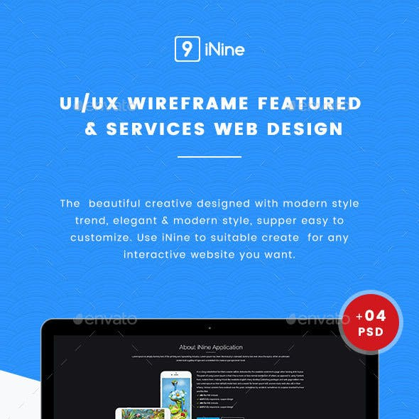 UI Kits Wireframe Featured & Services - 04 PSD