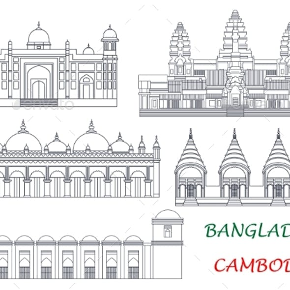 Travel Landmarks of Cambodia and Bangladesh Icons