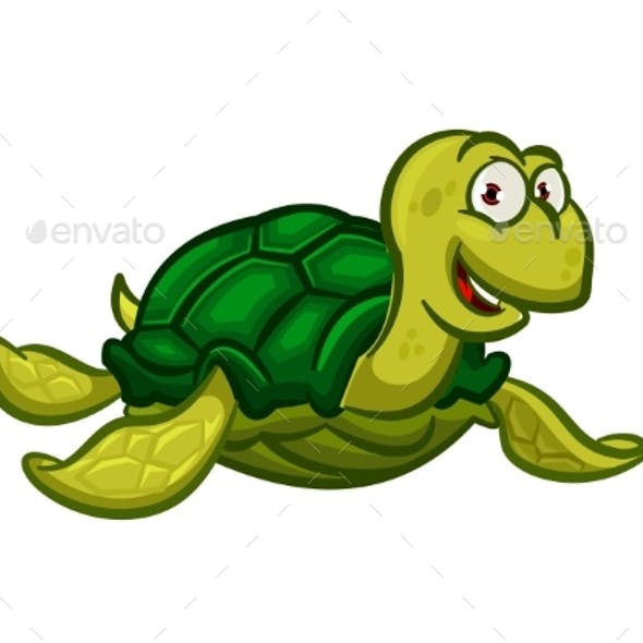 Cartoon Swimming Sea Turtle Character