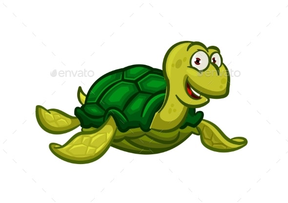 Cartoon Swimming Sea Turtle Character - Animals Characters