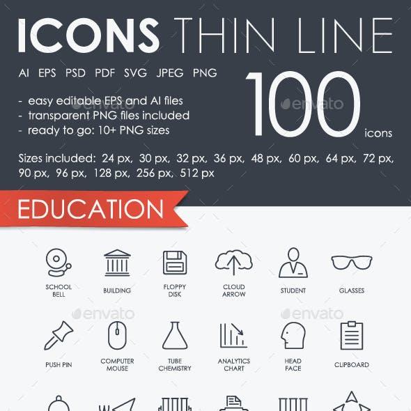 Education Thinline Icons