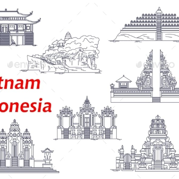 Ancient Temples of Indonesia and Vietnam Icons