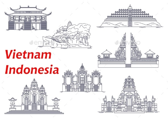 Ancient Temples of Indonesia and Vietnam Icons - Religion Conceptual