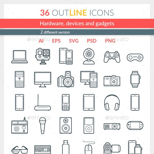 Hardware, Devices and Gadgets Icons