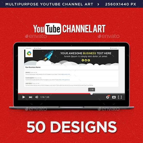 Multipurpose Youtube Channel Arts - 50 Designs