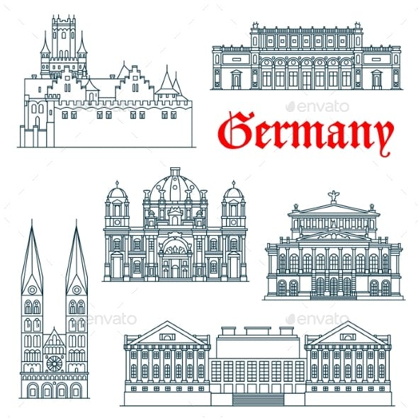 German Architectural Landmarks Icon in Thin Lines