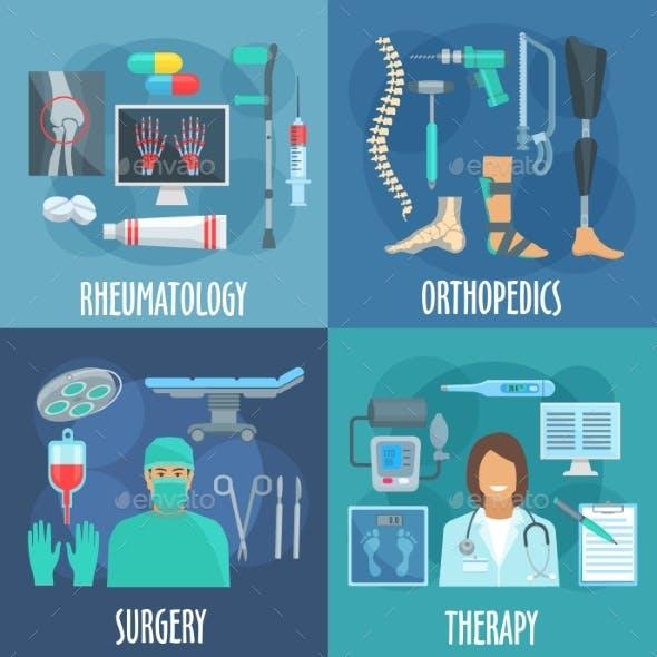 Surgery, Therapy, Orthopedic, Rheumatology Icons