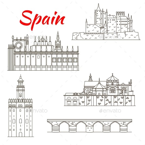 Spanish Attraction Icons for Tourism Design