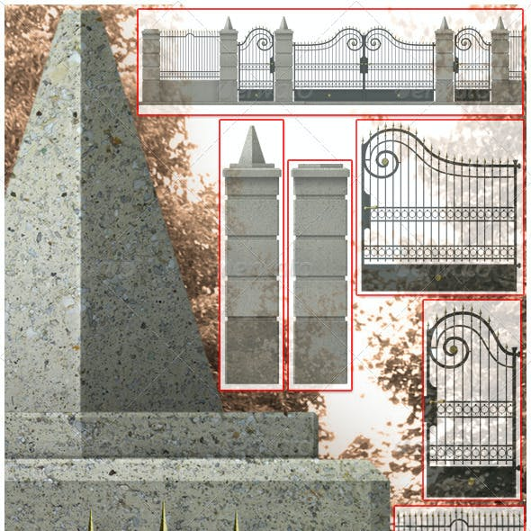 Set Of Forged Iron Fence With Concrete Columns