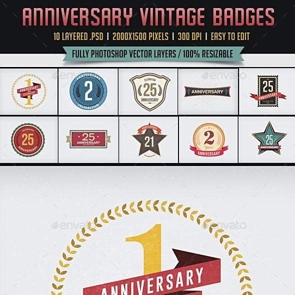 10 Anniversary Vintage Badges