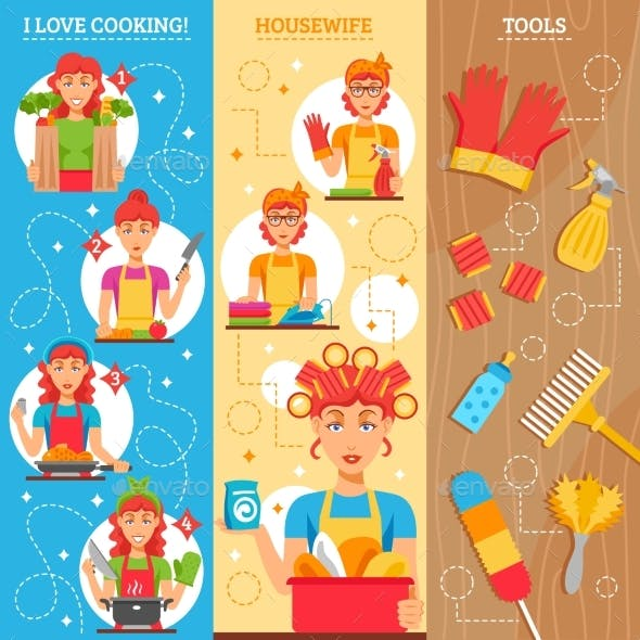 Housewife Vertical Banners