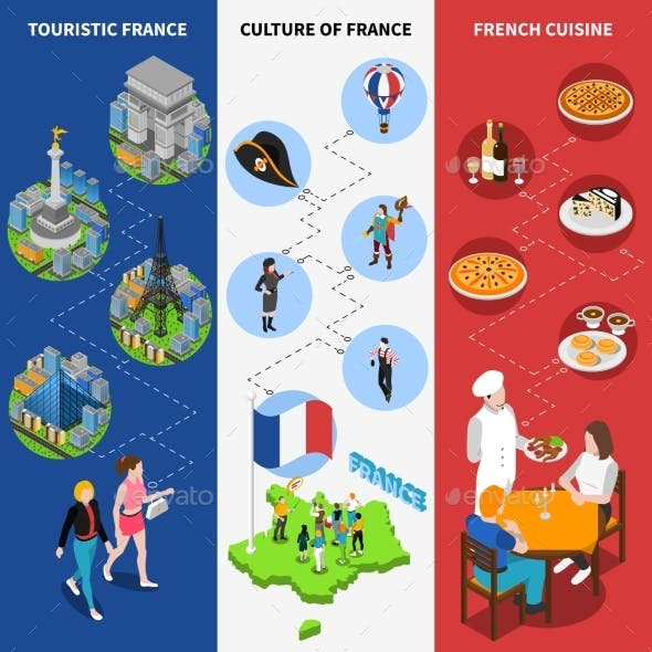 French Cultural Isometric National Flag Banners