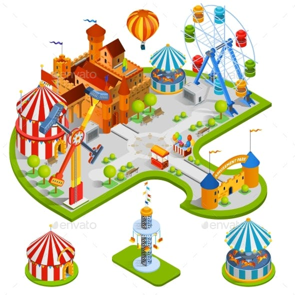Amusement Park Isometric Composition