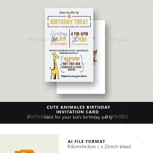 Cute Animals Birthday Invitation Card