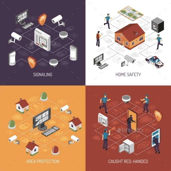 Home Security 4 Isometric Icons Square